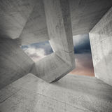 Abstract architecture background, 3d. Concrete room interior with chaotic structures and dark cloudy sky outside. Abstract architecture background, 3d Stock Photography
