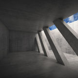 Abstract architecture background 3 d. Abstract architecture background, empty concrete room interior with diagonal columns and blue cloudy sky outside, square 3d Royalty Free Stock Images