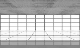 Abstract architecture background, empty concrete interior. With bright windows in modern frames, 3d illustration, front view Stock Photos
