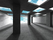 Abstract architecture background. Empty concrete room with colum. Ns and window to sky. 3d render illustration Stock Image