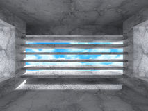 Abstract Architecture Background. Empty Concrete Room With Windo. W. 3d Render Illustration Royalty Free Stock Photos