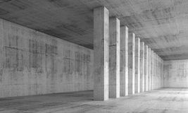Abstract architecture background, empty interior. With concrete walls and columns in a row, 3d illustration with perspective effect Royalty Free Stock Image