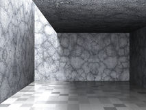 Abstract Architecture Background. Empty Room. Concrete Stone Wal. Ls. Dark Basement. 3d Render illustration Royalty Free Stock Photography