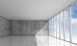 Abstract architecture background, empty white 3d interior. Abstract architecture background, empty interior with concrete walls and cloudy sky in windows, 3d stock illustration