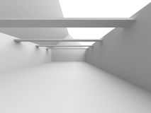 Abstract Architecture Background. Empty White Futuristic Room. 3d Render Illustration royalty free illustration