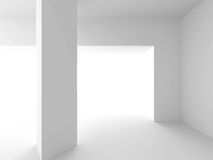 Abstract architecture background. Empty white room interior. 3d render illustration Stock Photos