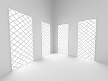 Abstract architecture background. Empty white room interior. 3d render illustration Stock Image