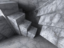 Abstract Architecture Background. Geometric Chaotic Concrete Blo. Cks Construction. 3d Render Illustration Royalty Free Stock Photo