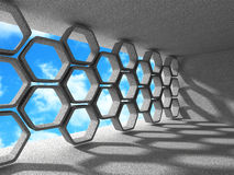 Abstract Architecture Background. Hexagon Interior Design Backgr. Ound. 3d Render Illustration Royalty Free Stock Image