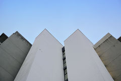 Abstract architecture background. Vanishing point against a blue sky. Royalty Free Stock Images