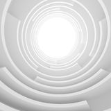 Abstract Architecture Background. White Circular Tunnel Building. Creative Engineering Concept Stock Photo