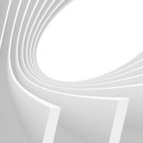 Abstract Architecture Background. White Circular Tunnel Building. 3d Illustration of Light Futuristic Hall. Minimal Technology Render Royalty Free Stock Photography