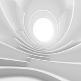 Abstract Architecture Background. White Circular Tunnel Building. 3d Illustration of Light Futuristic Hall. Minimal Technology Render Royalty Free Stock Images
