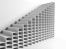 Abstract architecture background, white 3d. Interior with cell shelves, digital graphic illustration Stock Image