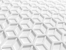 Abstract architecture background. With white double honeycomb structure. 3d render illustration Stock Image