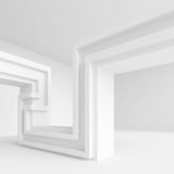 Abstract Architecture Background. White Interior Design, 3d Illustration of Building Construction Royalty Free Stock Photos