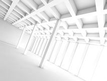 Abstract architecture background, white room 3d. Abstract architecture background with perspective view of white room, 3d illustration Royalty Free Stock Image