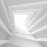 Abstract Architecture Background. White Tunnel Building. 3d Illustration of Light Futuristic Hall. Minimal Blocks Render Stock Image