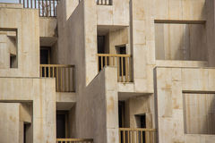 Abstract architecture of balconies. An abstract architectural element of balconies, corners, and negative space of a sandstone building Stock Photography