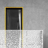 Abstract architecture with balcony and window. Abstract modern architecture with balcony and window. Black and white picture with yellow detail standing out Royalty Free Stock Photo