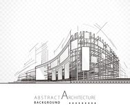 Abstract Architecture Building. Architecture abstract black and white building design background vector illustration