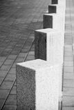 Abstract architecture composition, white square bollards Royalty Free Stock Photography