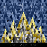Abstract architecture concept colorful triangles geometric. Design, blue dark and gold abstract background,  illustration Stock Photos