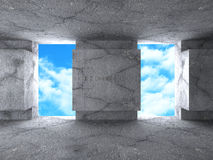 Abstract Architecture Concrete Building On Sky Background Royalty Free Stock Photography