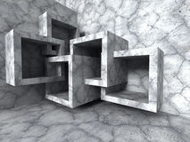 Abstract architecture. Concrete chaotic cubes construction backg. Round. 3d render illustration stock illustration