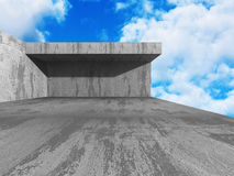 Abstract Architecture Concrete Construction on Cloudy Sky Backgr. Ound. 3d Render Illustration Stock Photo