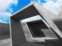 Abstract Architecture Concrete Construction on Cloudy Sky. Background. 3d Render Illustration Stock Image