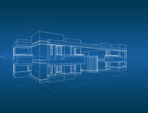 Abstract Architecture Construction. It`s a conceptual two point perspective of a guest house royalty free illustration