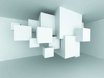 Abstract Architecture Cube Blocks Design Room Interior Backgroun. D. 3d Render Illustration Stock Photo