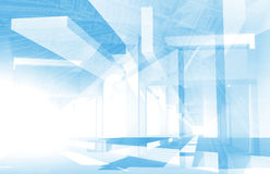 Abstract architecture 3d background. With blue constructions and drawings, Engineering concept Stock Photos