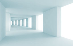 Abstract architecture 3d background, blue corridor Stock Images