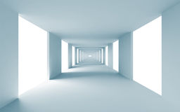 Abstract architecture 3d background. Empty blue corridor Royalty Free Stock Photo