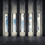 Abstract architecture 3d, empty interior with columns. Abstract architecture background, empty interior with columns and cloudy sky outside, front view. 3d Royalty Free Stock Photo