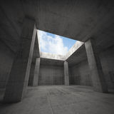 Abstract architecture, dark concrete room interior. With columns and empty window opening in ceiling, 3d illustration, blue sky outside Stock Photography