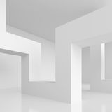 Abstract Architecture Design. 3d Illustration of White Modern Interior Background. Abstract Architecture Design Royalty Free Stock Photo