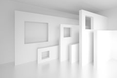 3d White Modern Background. Abstract Architecture Design. 3d Rendering of White Modern Background Royalty Free Stock Images