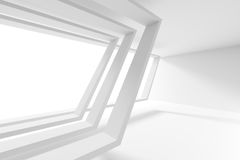 Abstract Architecture Design. Modern Background. 3d Illustration of Modern Building Background. White Room with Window Royalty Free Stock Image
