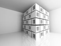 Abstract Architecture Design White Background. 3d Render Illustration Royalty Free Stock Photography