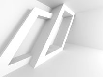 Abstract Architecture Design. White Geometric background. 3d Render Illustration Stock Photos