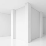 Abstract Architecture Design. White Modern Background. Modern Minimal Building Construction. Column Wallpaper. 3d Rendering Stock Images