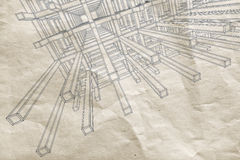 Abstract architecture draft 3d background. Ink blueprint with perspective view of an abstract 3d braced construction on old paper vector illustration