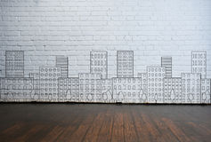 Abstract architecture drawing on the wall Royalty Free Stock Image