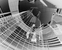 Abstract architecture elements. Black and white, 3d render Stock Photos