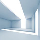Abstract architecture, empty blue futuristic interior. White background, 3d illustration royalty free illustration