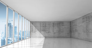 Abstract architecture, empty interior with concrete walls. Abstract architecture background, empty interior with concrete walls and modern city buildings under stock illustration