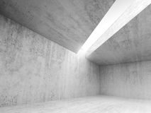 Abstract architecture empty interior 3d. Abstract architecture interior background, empty concrete room with white light opening in ceiling, 3d illustration royalty free illustration